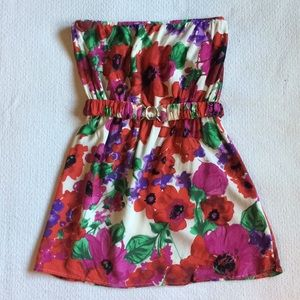 Ezra Strapless Floral Belted Mini Dress, Size Med